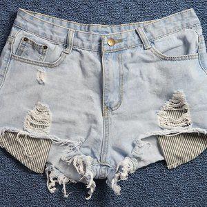 Distressed Stripe Pocket Denim Shorts
